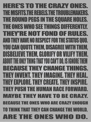 Crazy Ones - Steve Jobs Picture Quote
