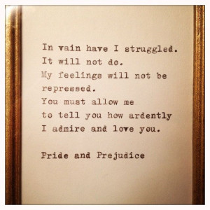 Pride and Prejudice Quote Typed on Typewriter and Framed
