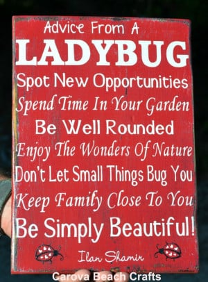 Ladybug Sign - Home Decor - Kitchen - Dining Room - Wood Sign - Advice ...