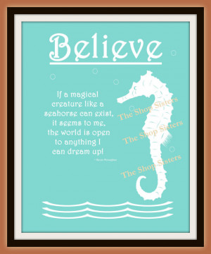 Seahorse Ocean Tiffany Blue Green silhouette poem 8 x 10 Print Wall ...