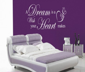 DREAM IS A WISH YOUR HEART WALL ART QUOTE STICKER - BEDROOM LOUNGE ...