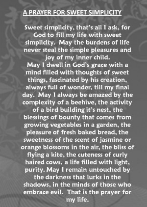 Prayer for Sweet Simplicity