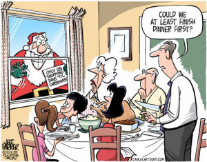 Cartoon: Santa knocking on window with sign: 'only 28 shopping days ...