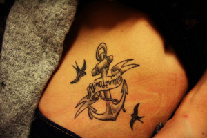 Anchor Tattoos With Birds Anchor birds & banner tattoo