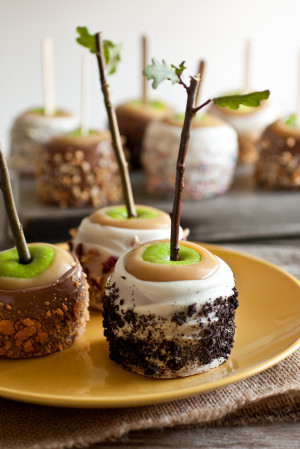 food Halloween DIY dessert fall rustic yummy yum apples candy apples