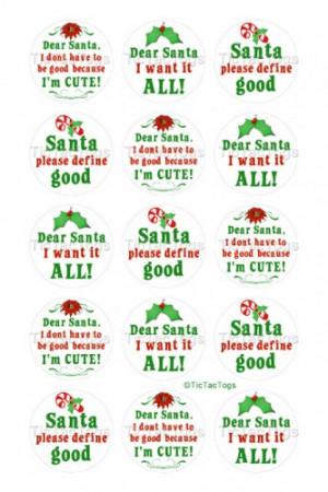 Christmas Santa Sayings Bottle Cap Digital Set 1 Inch Circle Stickers