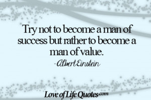 Albert Einstein quote on becoming a man of value