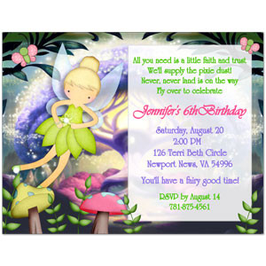 Tinkerbell Inspired Birthday Party Invitations