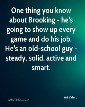 One thing you know about Brooking - he's going to show up every game ...