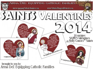 ... Catholic Families will receive our SAINTS Valentines FREEBIE