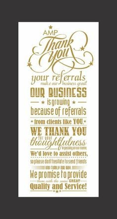 ... awesome! #Thanks #Referral #Business #Thoughtfulness #Quality #Service