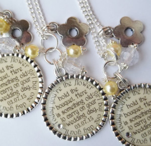 Personalized Flower Girl Gift Necklace with quote choice color Wedding ...