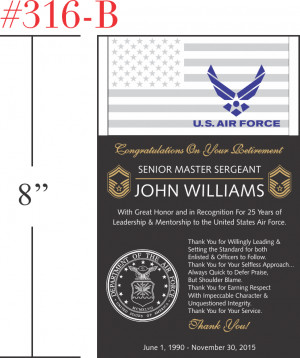 Air Force Retirement Plaque - Crystal Central
