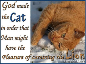 God made the cat in order that Man might have Pleasure of caressing ...