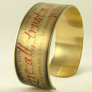 ... Few Literary Quote - Shakespeare Quote SLIM Brass Cuff Bracelet