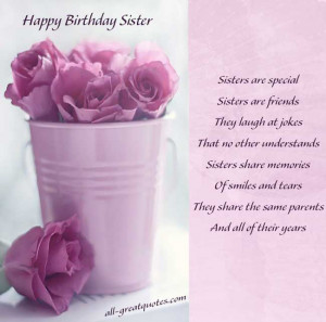 Birthday Wishes For SISTER To WRITE Sister Poems