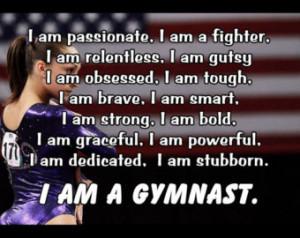 Gymnastics Poster I AM A GYMNAST Qu ote Inspiration Motivation Pride ...