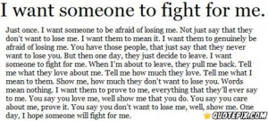 Want Someone To Fight For Me.