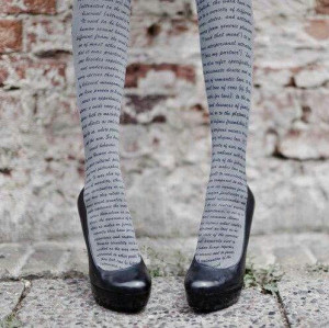 Tights with book quotes