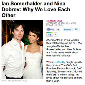 IAN COMFIRIMING THEY ARE DATING! - ian-somerhalder-and-nina-dobrev Fan ...