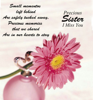 In Loving Memory Cards For Sister Precious Sister I Miss You