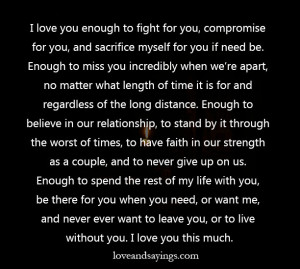 love you enough to fight for you
