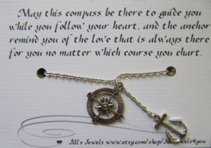 Best Friend Compass and Anchor Charm Necklace and Friendship Quote ...