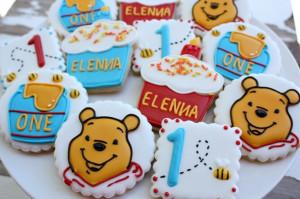 ... Pooh Birthday Cookies~ No source, honey pot, blue, Orange bear, number