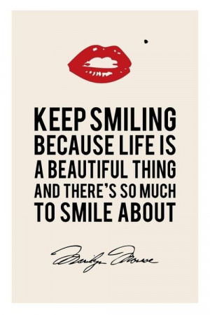 Marilyn monroe keep smiling quote