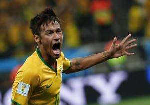 Brazil's Neymar celebrates his goal against Croatia during their 2014 ...