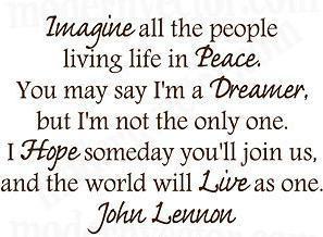 gratuite ebay hot vente John Lennon imaginez vinyle mur paix Quote ...