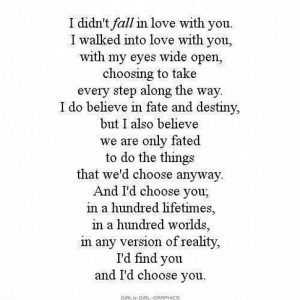 Can you choose to love someone as opposed to falling in love?