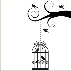Birdcage Wall Decal | Vinyl Stencil-birdcage, bird, bird cage, vinyl ...
