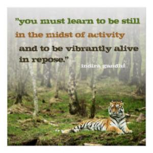 Inspiration Indira Gandhi Quote w Tiger Inspiring Poster