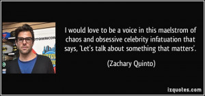 would love to be a voice in this maelstrom of chaos and obsessive ...