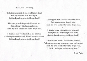 poem, poetry, quote, sylvia plath, text, Mad Girl's Love Song