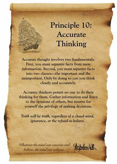 Napoleon Hill Foundation Accurate Thinking scroll More