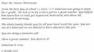 Sebastians Letter Thank You Quotes For Teachers From Parents