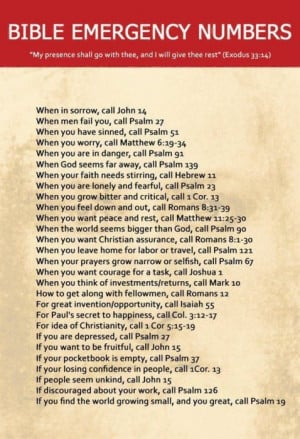 Bible Emergency Numbers: Quote About Bible Emergency Numbers ~ Daily ...