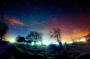 colorful, glow, landscape, night, sky, space, stars