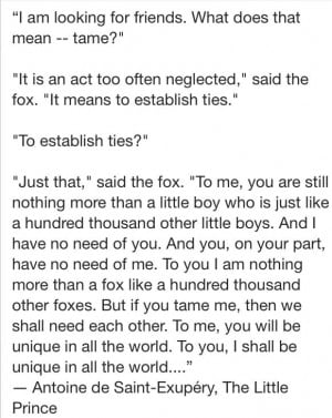 My favorite quote from *The Little Prince* by Antoine de Saint-Exupery