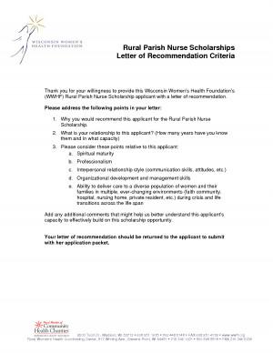 Nursing Scholarship Recommendation Letter Samples