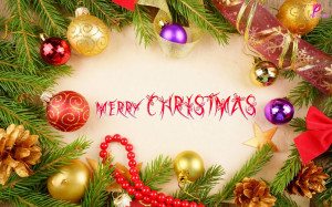 Christmas Balls and Christmas Tree Background Wide Wallpaper HD ...