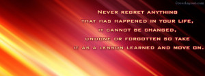 Never Regret Anything Facebook Cover Layout