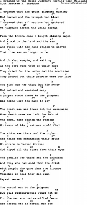 ... Dreamed Of The Great Judgment Morning-Hank Williams lyrics with chords