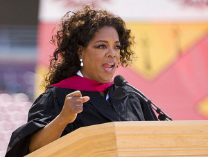 Oprah Winfrey delivers her speech to the Stanford graduating class of ...