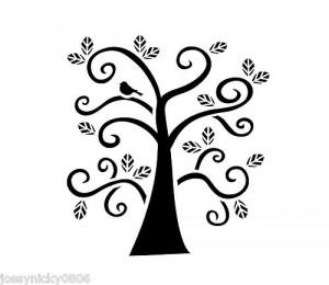 Printable Tree Branch Template curly tree stencil bird
