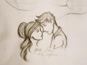 Cute Couples Kissing Drawings