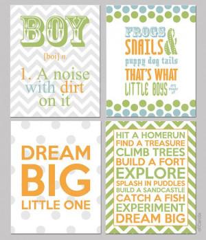 Boys Nursery Quote Wall Art Room Decor PRINT SET FOUR by ofCarola, $50 ...