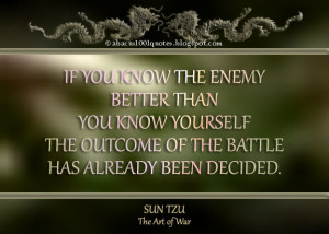 If you know the enemy better than you know yourself, the outcome of ...